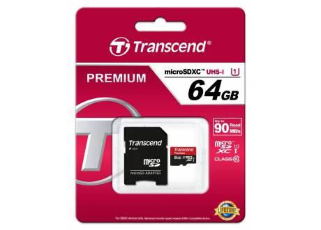 Memoria 64GB MicroSD Clase 10 transcend